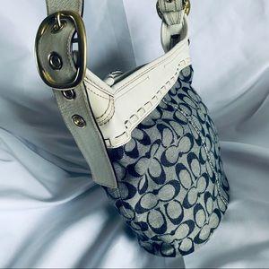 COACH Blue & White Canvas Bucket Bag